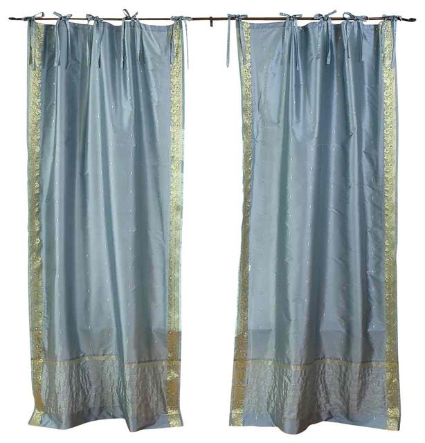 Shop Houzz Indian Selections Gray Tie Top Sheer Sari