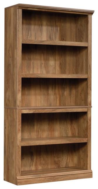 Sauder Misc Storage 5-Shelf Tall Wood Bookcase in Sindoori Mango