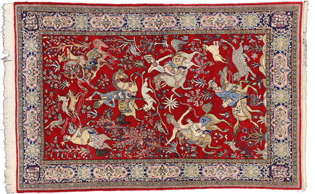 GPS Rugs Qum Handmade Area Rug With Reds And Blues 4 39 7x7
