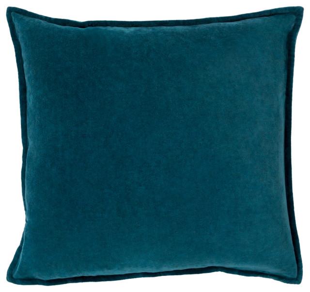Surya Cotton Velvet 22x22x0.25 Blue Pillow Cover contemporary-decorative-pillows