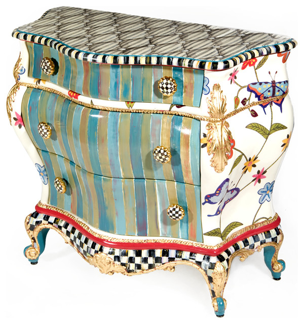 Butterfly large chest mackenzie childs eclectic for Mackenzie childs fish rug