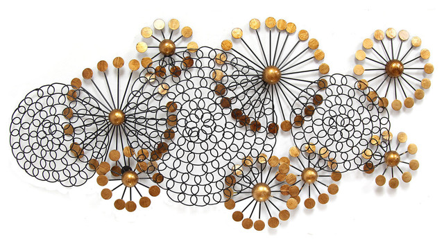 Circle Metal Wall Art stratton home decor spiral circles wall decor - midcentury - metal