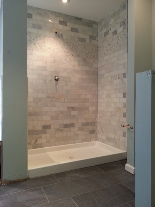 Marble Subway Tile Installed On Shower Walls, Jacuzzi Tub Deck And  Surround. 12x24 Porcelain Installed On Bathroom Floor Completed November  2014