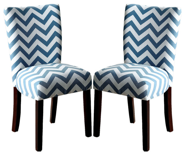 Chevron Print Fabric Upholstered Dining Side Chairs, Set Of 2, Blue  Contemporary Dining