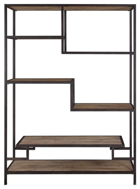 Extra Large Staggered Shelf Etagere Book Shelves Open