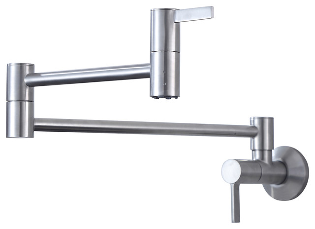 Two Handles Wall Mount Kitchen Faucet Pot Filler Brushed Nickel.