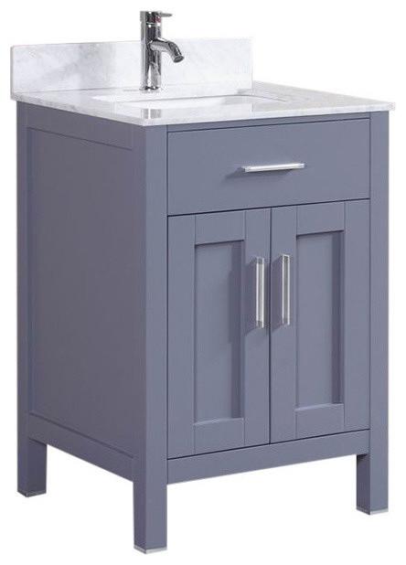 "24 Bathroom Vanity With Backsplash gray 24"" bathroom vanity set with marble top & backsplash"