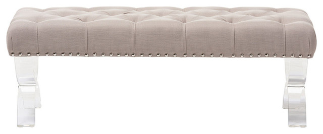 Cameron Beige Fabric Upholstered Button-Tufted Ottoman Bench, Acrylic Legs.