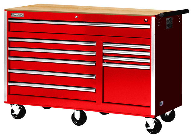 "56"" 10-Drawer deep Tool Cabinet With Hardwood Top, Red - Contemporary - Garage And Tool Storage ..."