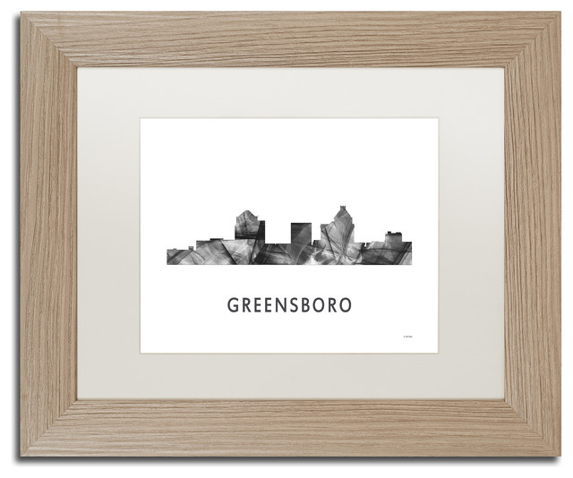 Trademark Fine Art Greensboro Nc Skyline Matted Framed