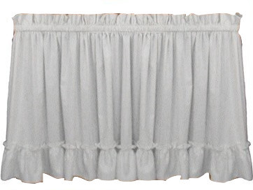Stephanie Ruffled Tiers Curtains, White, 36.