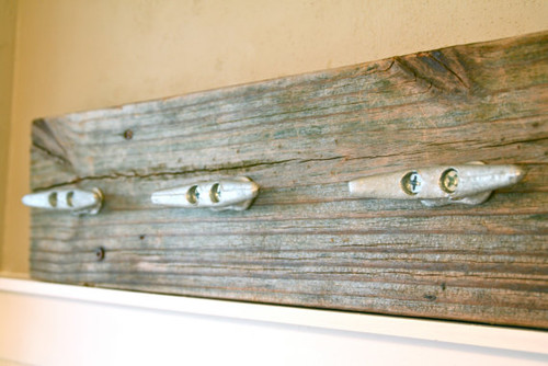 Reclaimed Wood Towel/Coat Rack with Boat Cleats by DocksideCottage