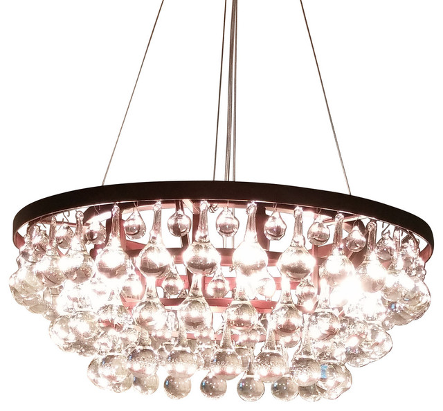 3 Tier Clear Murano Glass Teardrop Chandelier 20 Wx10 H