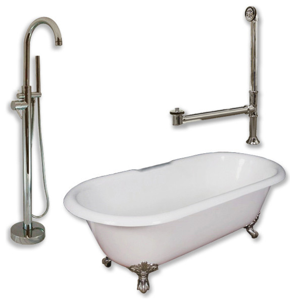 """Cast Iron Double Clawfoot Tub 60"""", Standing Tub Filler Shower Nickel Package."""