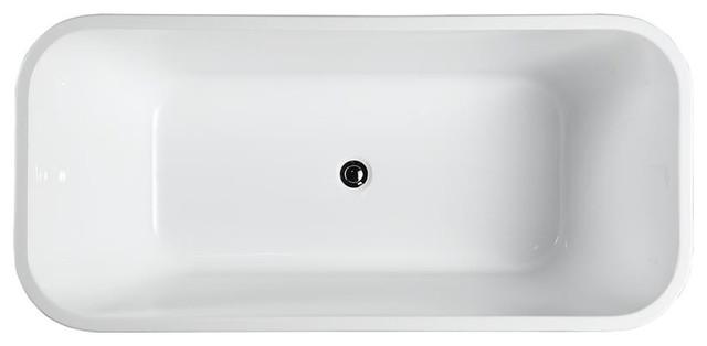 """Novara 59"""" Freestanding Bathtub, Glossy White."""