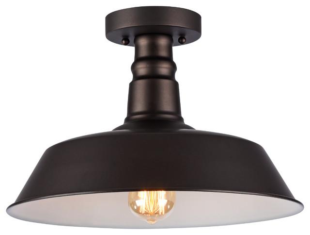 Ironclad 1-Light Rubbed Bronze Semi-Flush Ceiling Fixture