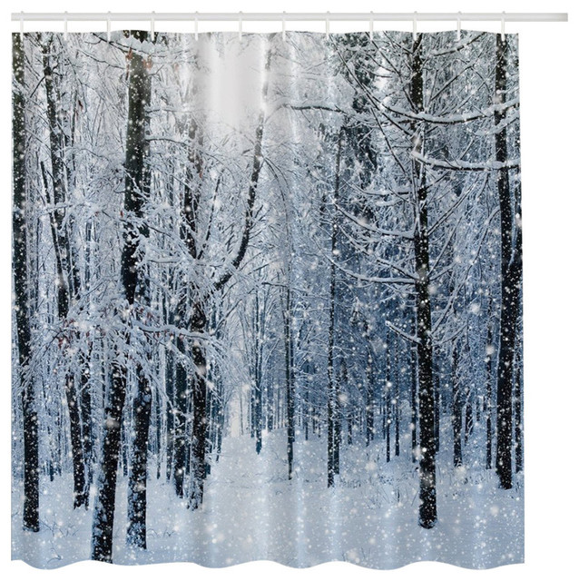 Shop Houzz | MoreThanCurtains Winter Forest Fabric Shower Curtain ...