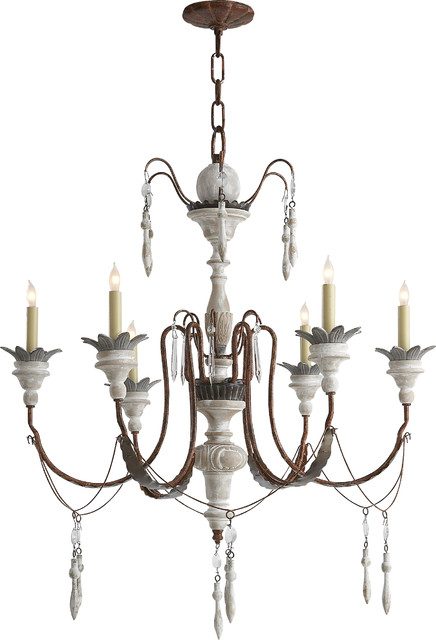 Visual Comfort SK5000NR-OW Suzanne Kasler 6 Light Small Percival Chandelier in N