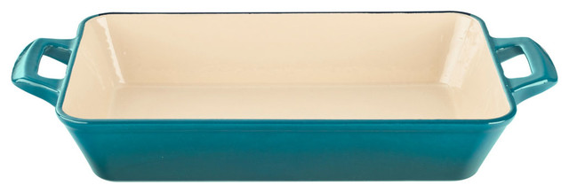 Large Deep Cast Iron Roasting Pan With Enamel Finish, High Gloss Teal.
