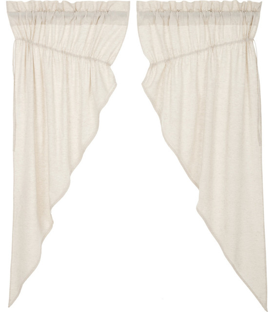 French Country Curtains Simple Life Flax Solid Short Prairie Panel Pair.