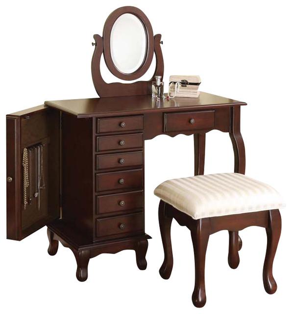 Dark Brown 7 Drawer Vanity Table Swival Mirror Stool Set With Storage  Cabinet