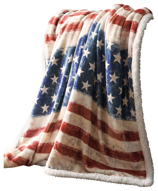 Stars Stripes Usa American Flag Sherpa Fleece Throw Blanket 54 X68 Contemporary Throws By Carstens
