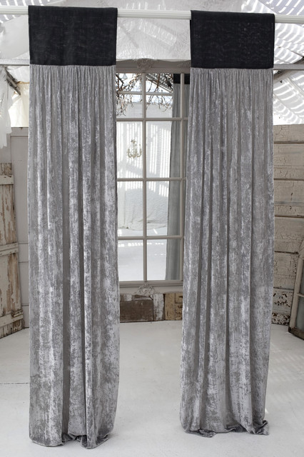 Couture Dreams Luscious Platinum Velvet Slate Grey Jute Window Panel Curtains Other By