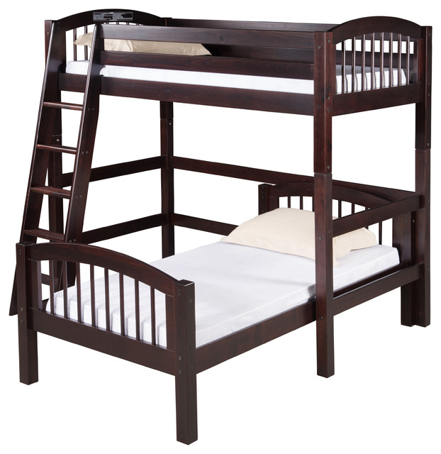 Camaflexi Twin Over Twin Loft Bed L Shape Arch Spindle Headboard