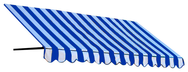 "6&x27; Dallas Retro Window Awning, 24"" Hx48"" D, Alpine, Bright Blue And White, 6&x27;."