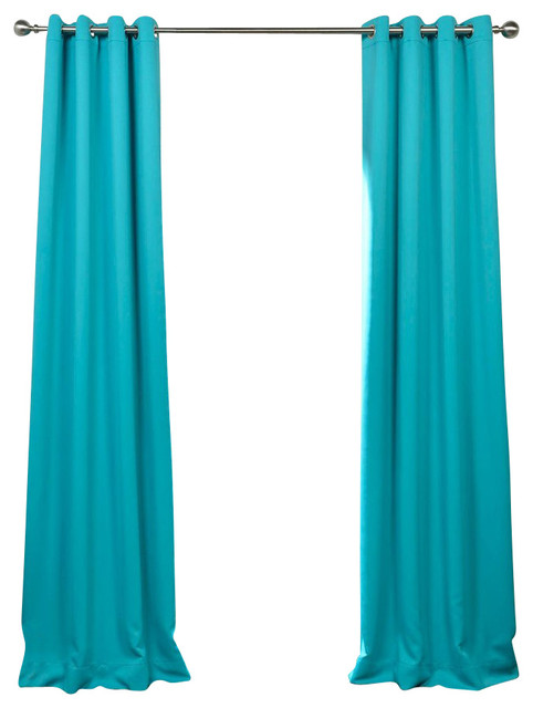Turquoise Blue Grommet Blackout Curtain Single Panel Contemporary Curtains By Half Price