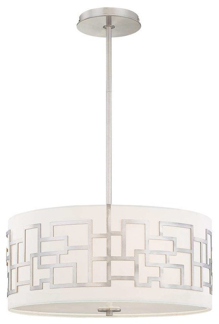 George Kovacs P194-084 Alecia&x27;s Necklace Drum Pendant Light, Brushed Nickel.