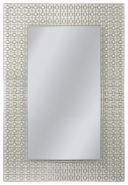 "Etched Geometric Wall Mirror, 24""x30""."