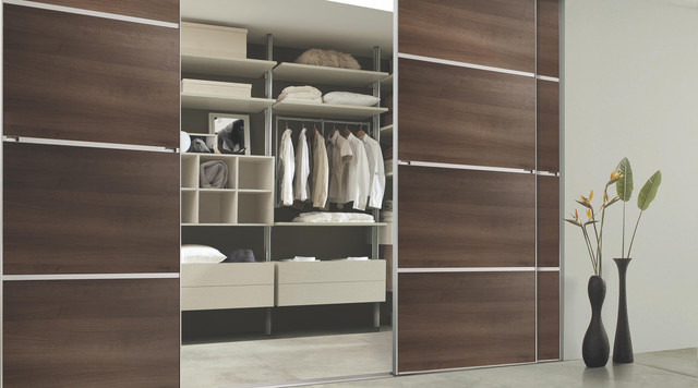 Contemporary Walnut Sliding Wardrobe Doors contemporary-closet & Contemporary Walnut Sliding Wardrobe Doors - Contemporary - Closet ... Pezcame.Com