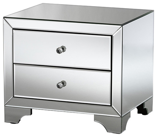 Farrah Hollywood Regency Glamour Style Mirrored 2-Drawer Nightstand.