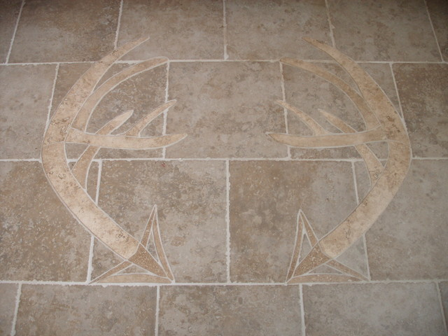Stone Floor Inlays : Hand carved stone inlay in tile floor modern