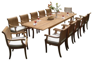 13-Piece Outdoor Teak Dining Set - Traditional - Outdoor Dining Sets ...