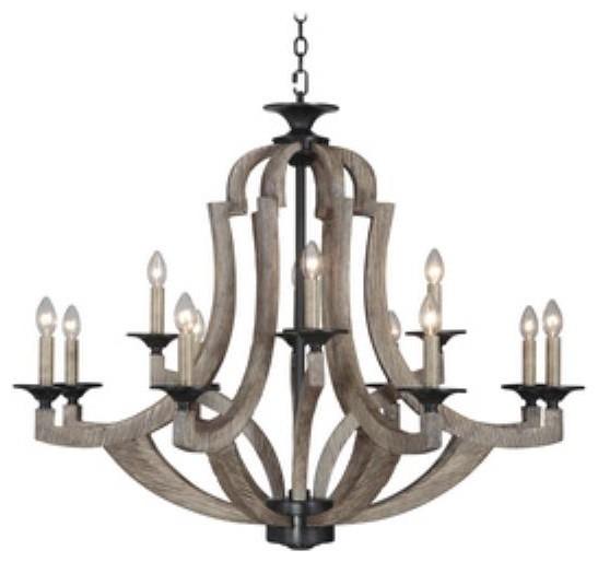 Craftmade Lighting Winton - Twelve Light Chandelier, Weathered Pine Finish