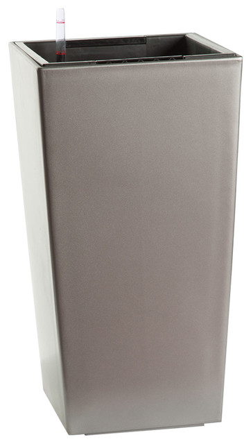 "Vero Self-Watering Square Planter, Matte Silver, 22""."
