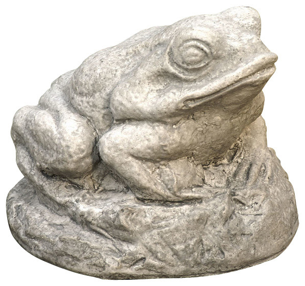 Great Garden Supply Campania Tiny Frog Cast Stone Animal Statue