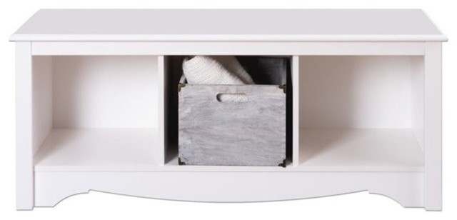 hawthorne collections 3 cubby bedroom bench white