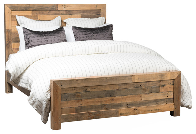 Riverview Reclaimed Pine Bed - Rustic - Panel Beds - by Kosas