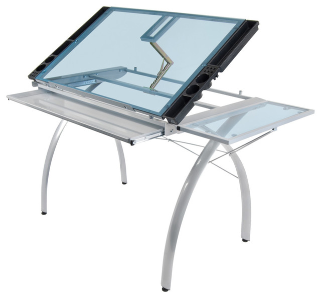Futura Craft Station With Folding Shelf, Silver And Blue Glass.