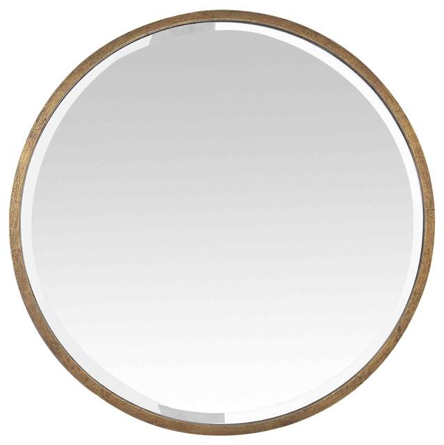 Round Gold Metal Mirror, 100 cm