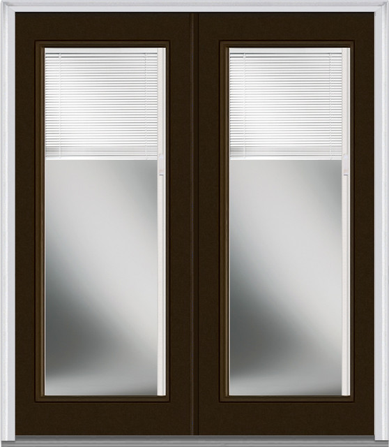 Low e glass mini blinds full lite fiberglass brown double for Full window exterior door