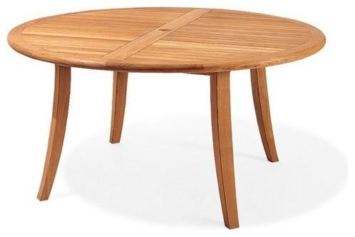 52 Round Dining Outdoor Teak Table, Round Teak Outdoor Table