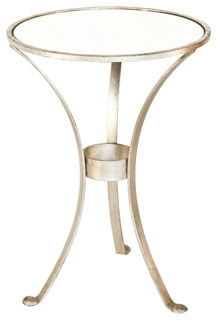 Worlds Away 3 Leg Round Table In Champagne Silver Leaf With Antique Mirror Top F Contemporary