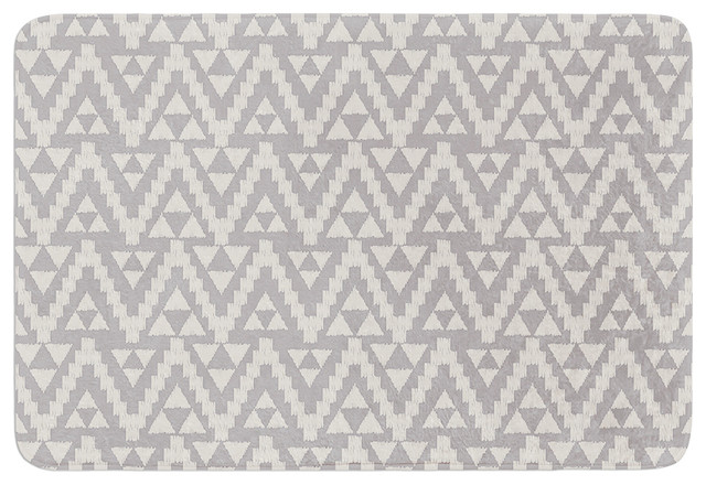 "Contemporary Bathroom Mats amanda lane ""geo tribal gray"" gray tribal memory foam bath mat"