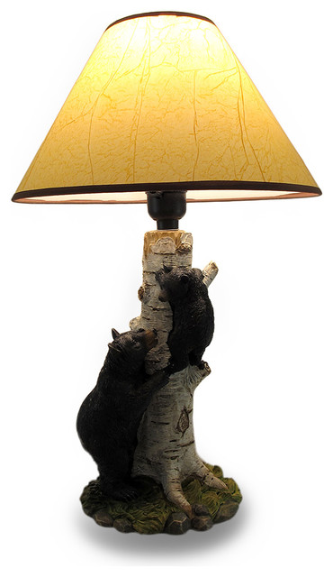 Zeckos black bear and cub birch tree table lamp with shade black bear and cub birch tree table lamp with shade rustic table lamps aloadofball Image collections