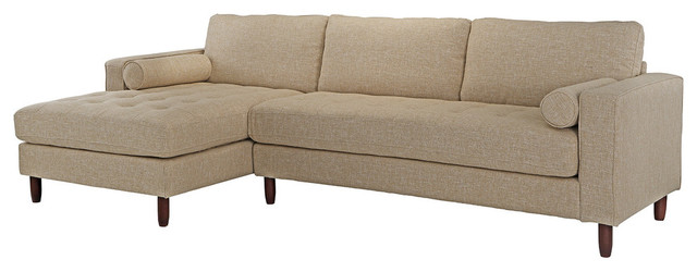 Modern Mid Century Fabric Sofa, L-Shape Sectional With Chaise Lounge, Beige