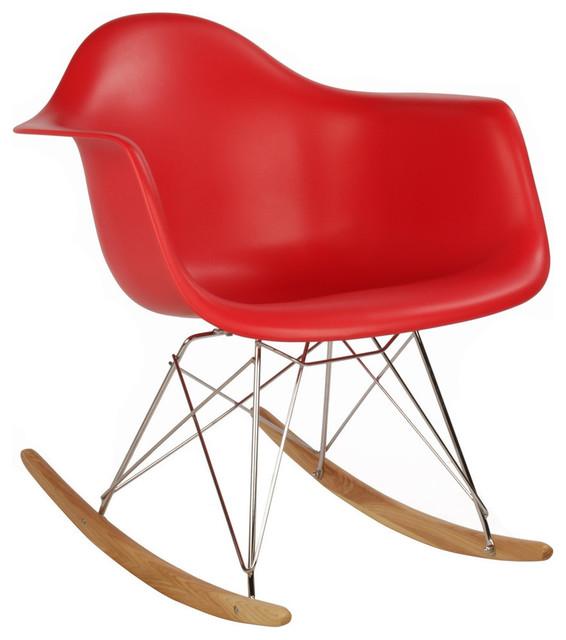 RAR Mid Century Modern Red Plastic Rocking Chair, Steel Eiffel Legs